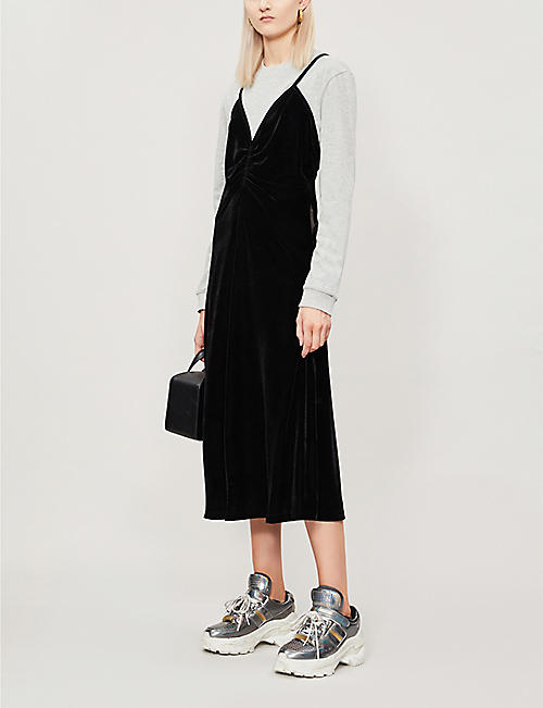FYODOR GOLAN Rehearsal long-sleeved stretch-jersey and velvet dress