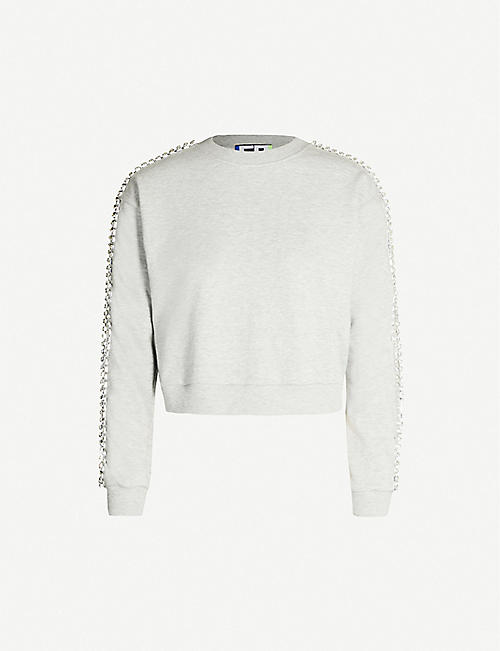 FYODOR GOLAN Crystal-trim cotton-blend sweatshirt