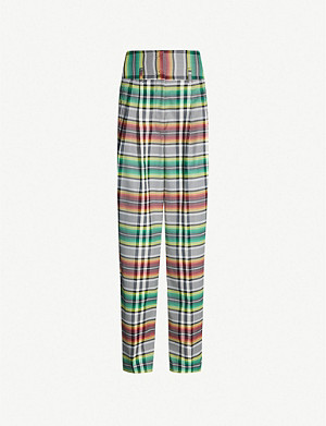 KOCHE Checked wool-blend loose-fit trousers