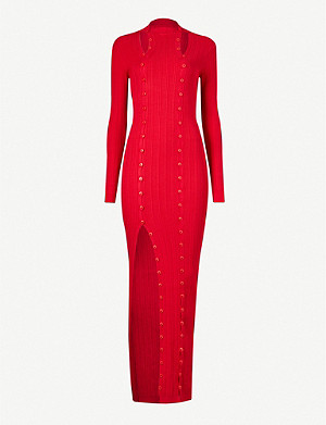 JACQUEMUS Maille button-embellished ribbed knitted maxi dress