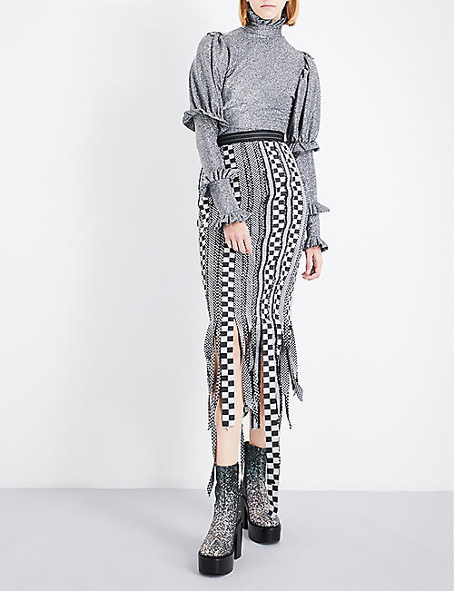 DILARA FINDIKOGLU Turtleneck metallic top