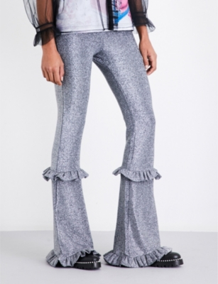 DILARA FINDIKOGLU Metallic flared high-rise trousers