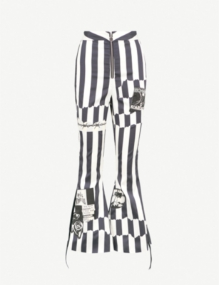 DILARA FINDIKOGLU Nun striped flared cropped silk-satin trousers