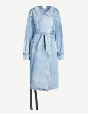 UNRAVEL Belted denim trench coat