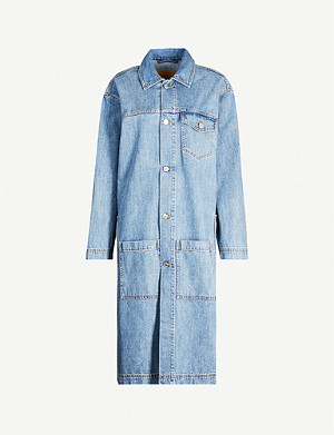 MARTINE ROSE Caretaker longline denim coat