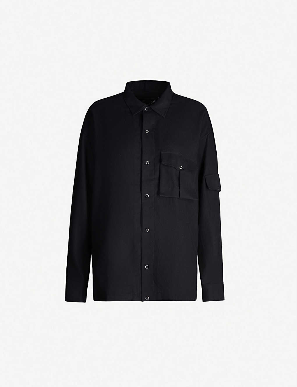 Martine Rose T-shirts Shock badge-embroidered brushed-cotton shirt