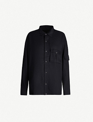 MARTINE ROSE Shock badge-embroidered brushed-cotton shirt