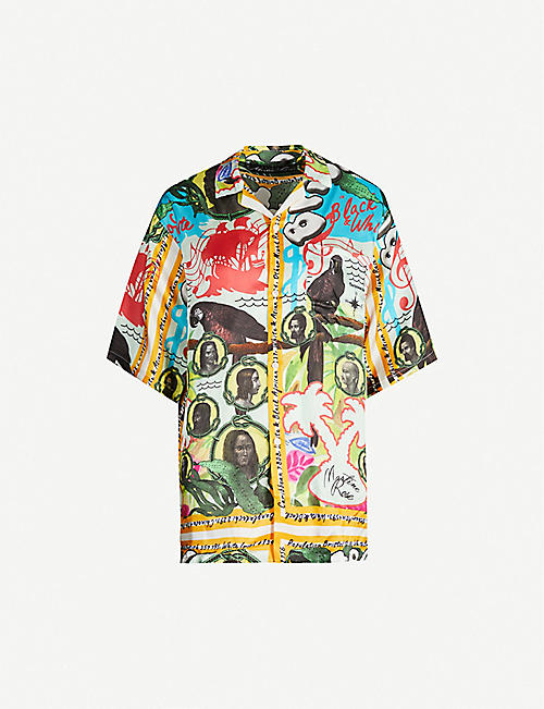 MARTINE ROSE Camp-collar graphic-print satin shirt