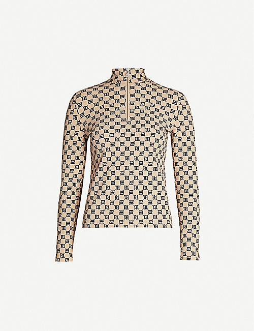 MISBHV Monogram-print stretch-woven top