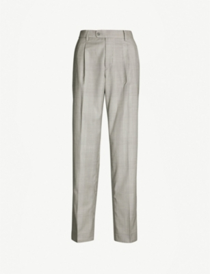 MISBHV Checked regular-fit tapered wool trousers