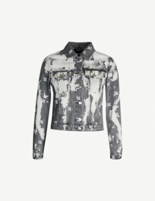 MISBHV Bleached logo-embroidered denim jacket