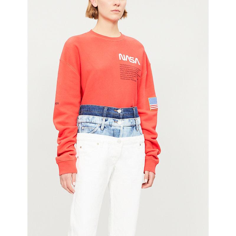 Nasa Cotton-Jersey Sweatshirt, Red