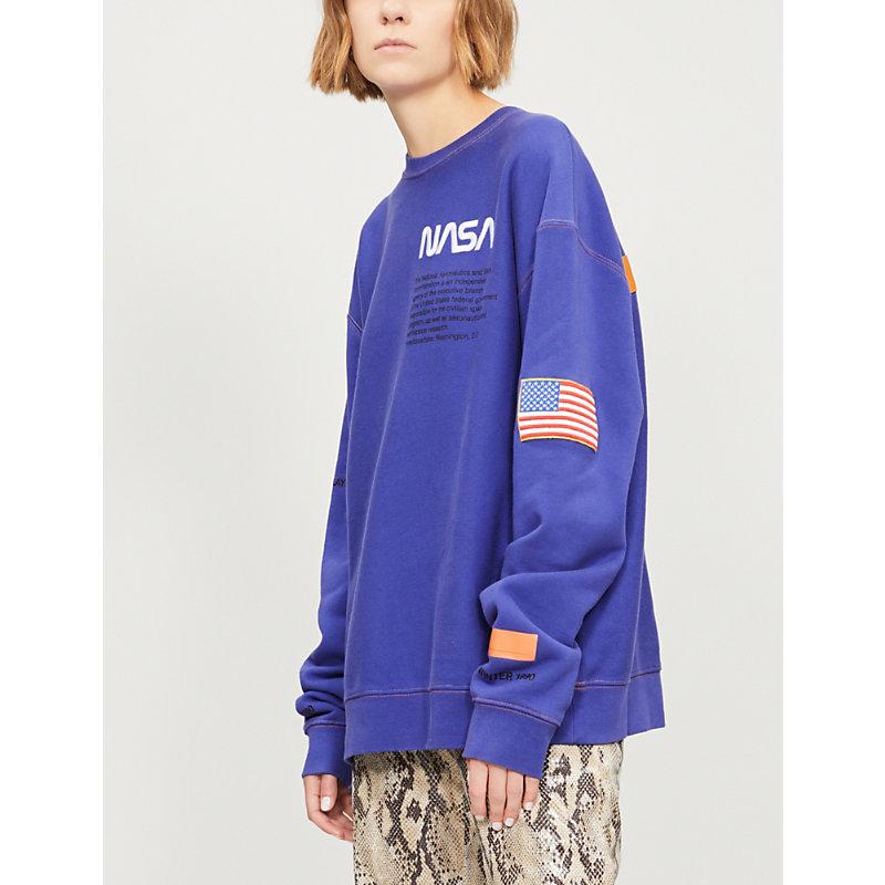 Nasa Cotton-Jersey Sweatshirt in Blue