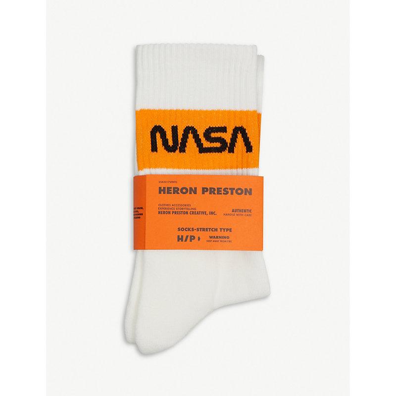 Nasa Ribbed Cotton-Blend Socks, White