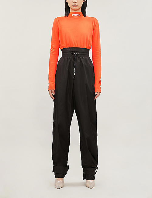 HERON PRESTON High-neck cropped cotton-jersey top