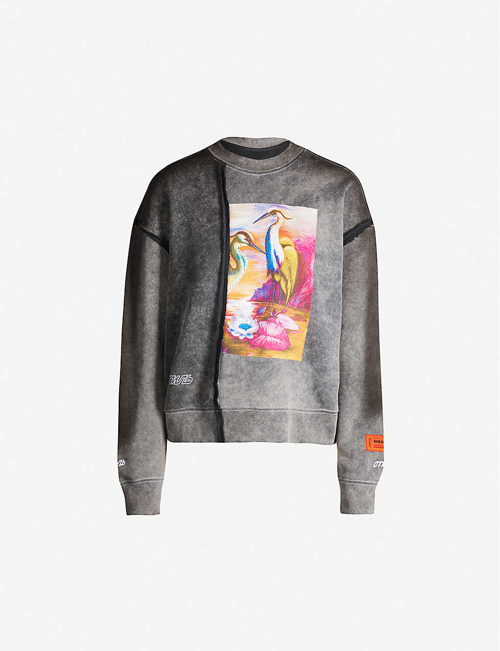 HERON PRESTON: Raw Edge cropped crewneck cotton-jersey sweatshirt