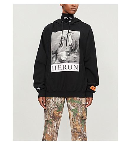 fa0108c27a03 HERON PRESTON B W herons-print cotton-jersey hoody (Black+mlti