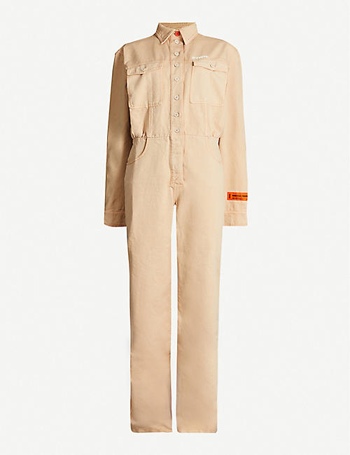 HERON PRESTON Worker brand-embroidery denim jumpsuit
