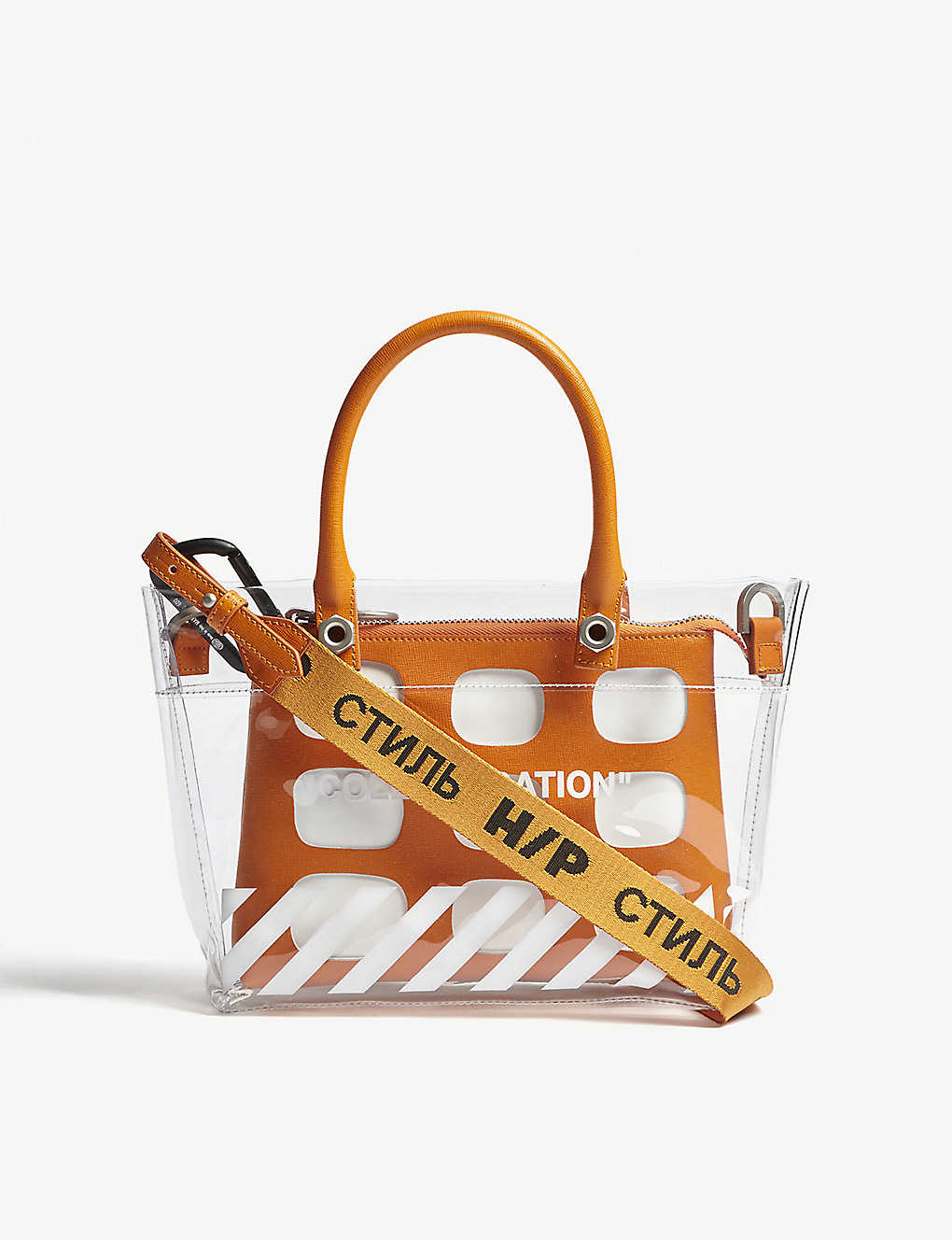7a0378c2625889 HERON PRESTON - Off White Collaboration mini tote bag | Selfridges.com