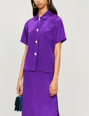 Rejina Pyo MILA SHORT-SLEEVED SATIN SHIRT