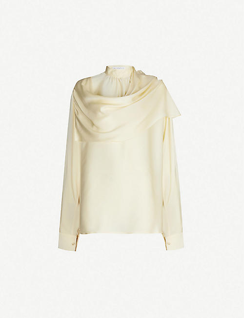 REJINA PYO Ira high-neck gathered-neckline silk blouse