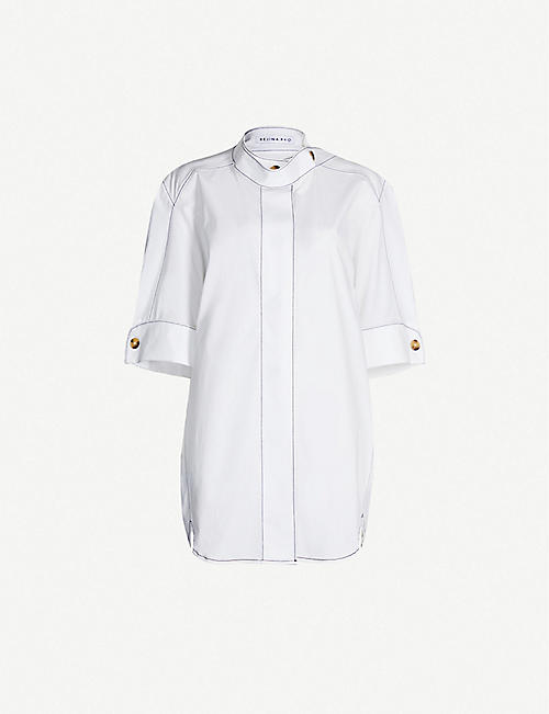 REJINA PYO Briana contrast-stitching cotton-blend shirt