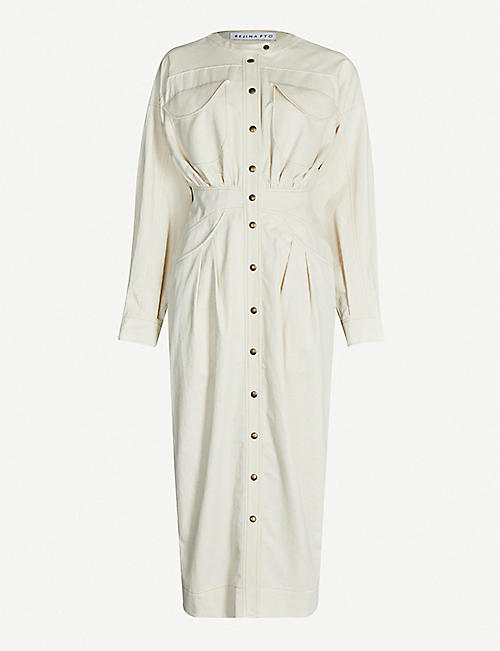 REJINA PYO Blake herringbone cotton and linen-blend midi dress