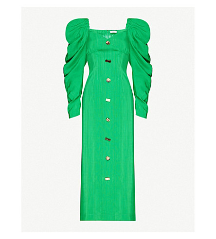 Rejina Pyo BETTY PUFFED-SLEEVE WOVEN MIDI DRESS