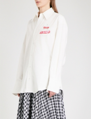D-ANTIDOTE Logo-embroidered oversized cotton-Oxford shirt