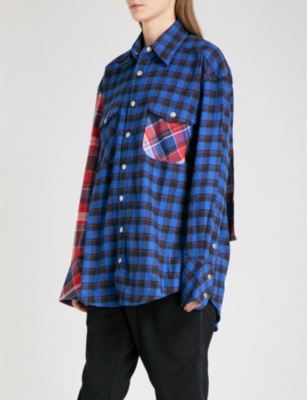 D-ANTIDOTE Printed-panel checked cotton-blend shirt