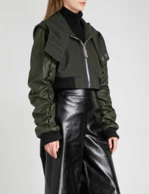 RESURRECTION Cropped faux-leather and wool bomber jacket