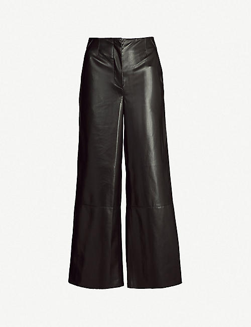 bf17112c0c8f4 NANUSHKA Africa high-rise wide-leg vegan-leather trousers
