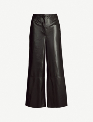 NANUSHKA Africa high-rise wide-leg vegan-leather trousers