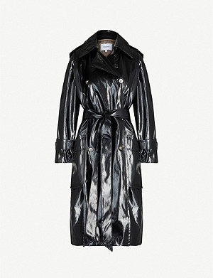 NANUSHKA Ambar double-breasted vinyl trench coat