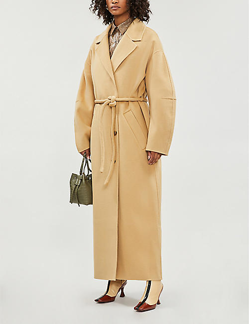 NANUSHKA Loane belted single-breasted wool-blend coat