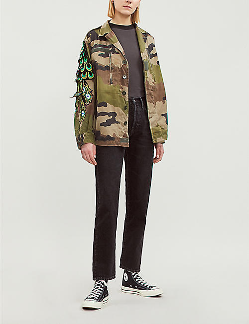 RAGYARD Embroidered peacock feather motif camo jacket