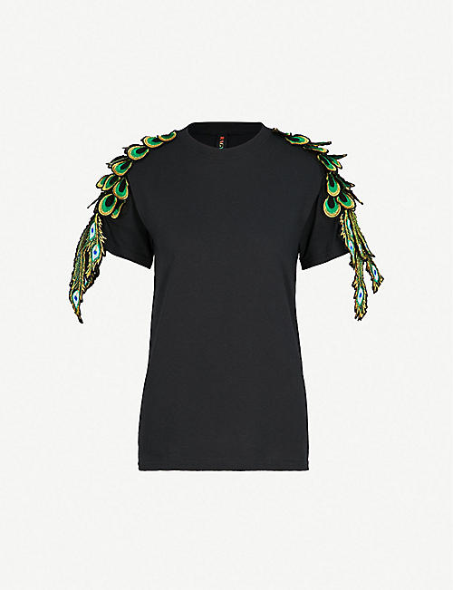 RAGYARD Peacock appliqué cotton T-shirt