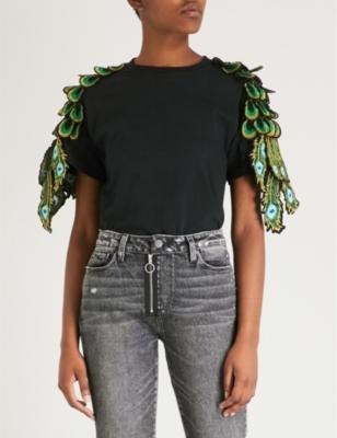 Ragyard Peacock appliqué cotton T-shirt