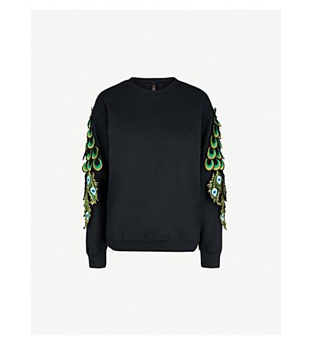 Ragyard Peacock appliqué cotton-jersey sweatshirt