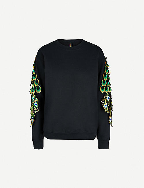 RAGYARD Peacock appliqué cotton-jersey sweatshirt