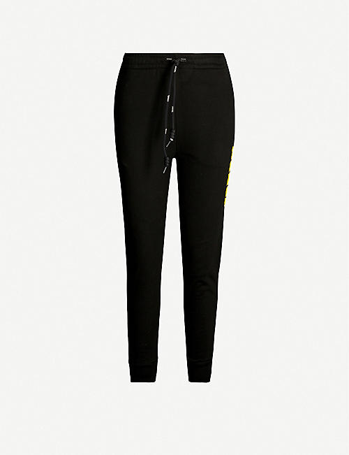 ANGEL CHEN Logo-beaded cotton-blend jogging bottoms