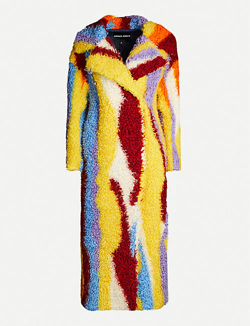 ANGEL CHEN Abstract striped wool-blend coat