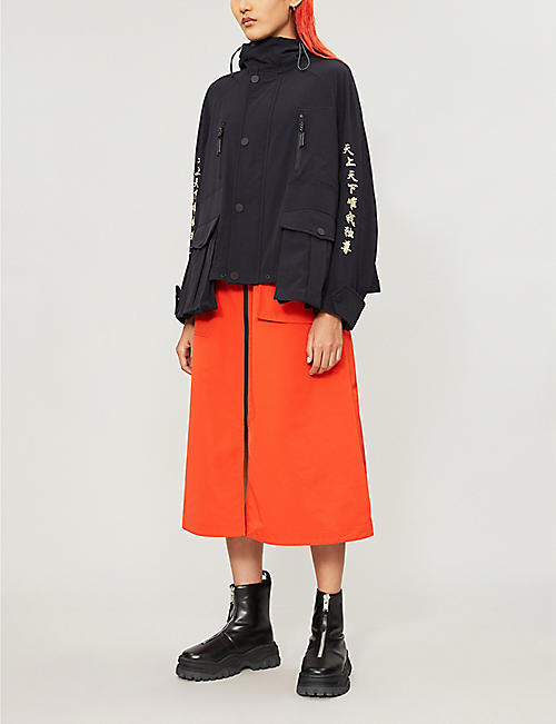 ANGEL CHEN Embroidered hooded stretch-woven jacket