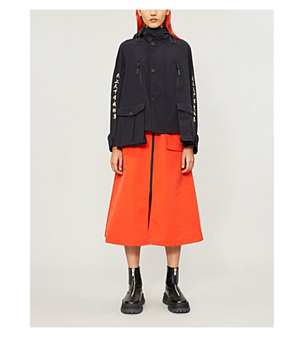 Angel Chen Jackets EMBROIDERED HOODED STRETCH-WOVEN JACKET