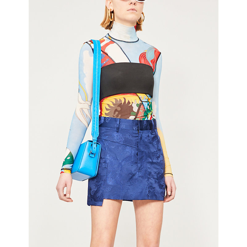 Angel Chen Tops GRAPHIC-PRINT HIGH-NECK MESH TOP