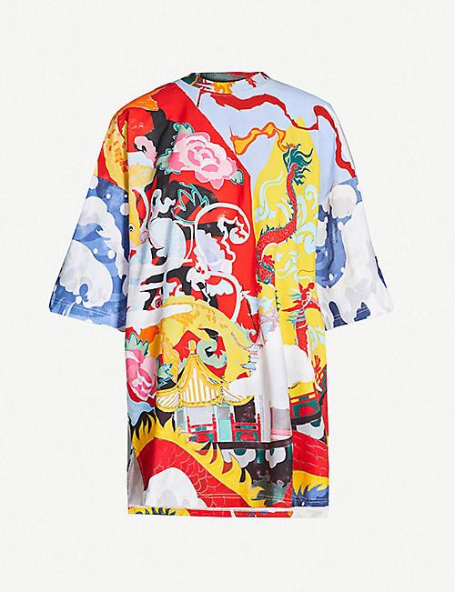 975657227 ANGEL CHEN Graphic-pattern cotton-jersey dress