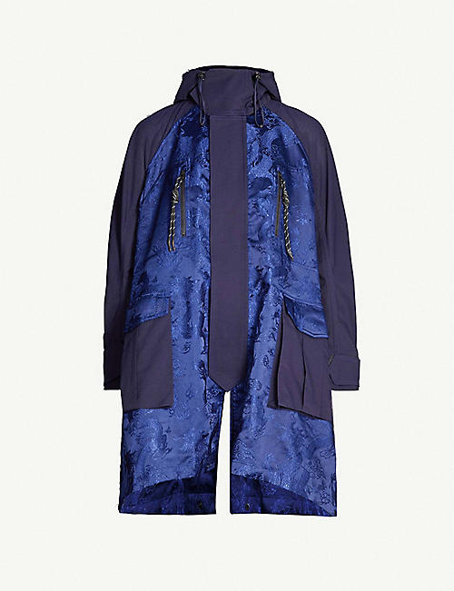 ANGEL CHEN Dragon-embroidered twill and satin coat