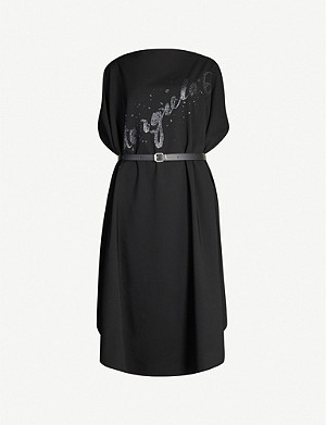 MM6 MAISON MARGIELA Logo-print virgin wool midi dress