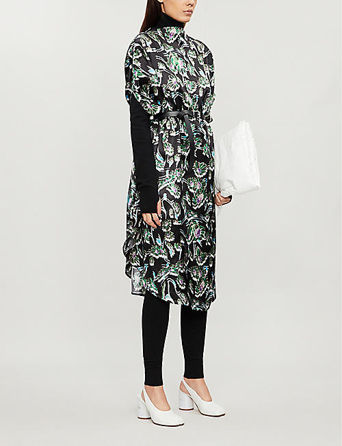 MM6 MAISON MARGIELA Floral-print oversized satin-twill midi dress
