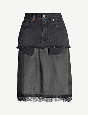 MM6 MAISON MARGIELA High-waist denim and lace-trimmed satin skirt